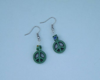 Green Peace Sign earrings