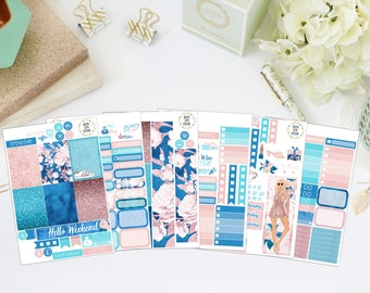 25% OFF SALE (no coupon needed) - Glam Girl Deluxe Kit - Vertical Planner Stickers (Weekly Sticker Kit) - For Use With Erin Condren LP