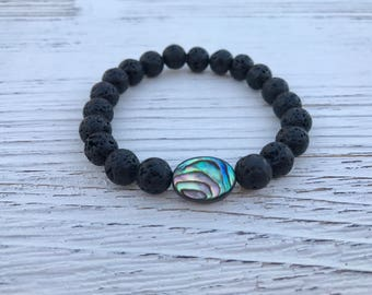 Abalone Shell And Lava Rock Bracelet Aromatherapy Essential Oil Diffuser And Healing Necklace