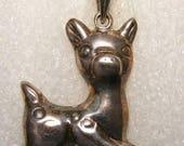 VTG Sterling Silver Puffed Deer Pendant wt:3.6g New Old/Vintage Stock ET2750