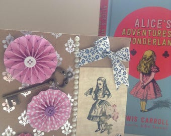 Unique handmade Alice in Wonderland card, vintage style