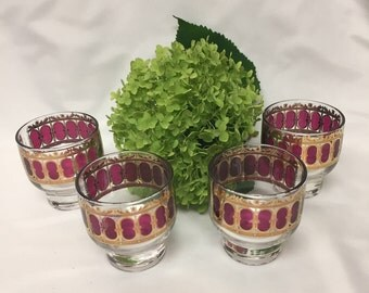 Culver Bar Glasses Cranberry and Gold Mid Century on the rocks glasses - set of 4