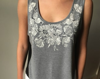 Clearance Sale - Floral Puff Printed/Embroidered Black, White & Grey Cropped Tank w Woven Contrast Back - S/M - Last One Left!