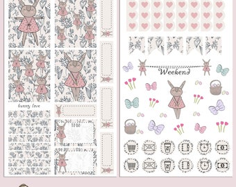 TN MINI Kit | Planner Stickers | Bunny Love | Hand Illustrated | Easter | Banners | Erin Condren | TN20