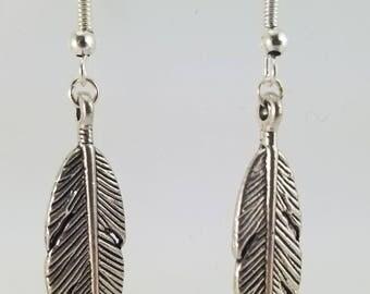 """""""Silver feather"""" earrings"""