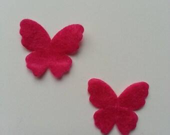 lot de 2 appliques papillons feutrine rose fuchsia   22*25mm