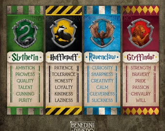 "Harry Potter Bookmarks | Pintable | Gryffindor, Slytherin, Hufflepuff, Ravenclaw | Digital Download | On 8.5x11"" page"