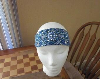 Blue Flower Print Headband with Rhinestones