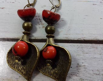 Autumn earrings pearls and bronze