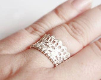 Princess ring sterling silver, Gr. 53/54, lace, Crown, playful