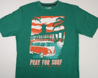 Vintage Pray For SURF Sunset Beach Men's LOADED T-shirt Size XL