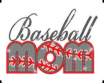 Baseball mom t-shirt - Rhinestud and Vinyl Baseball fan shirt - Baseball gift - Baseball t-shirt - Rhinestone t-shirt