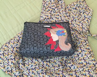 Hand painted oversized clutch