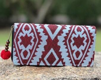 Red and Blue Aztec Tribal Womens Wallet    Womens Long Wallet    Purse    Zip wallet   Vegan Wallet   Hippie Wallet   Wallet   Gift for Her
