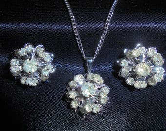 """1960s Sarah Coventry """"Symphony"""" Cluster Necklace and Earrings"""