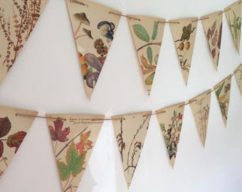 Wedding Garland. Autumn banner of vintage book illustrations made of paper and rustic twine. Up-cycled Eco Friendly fall bunting
