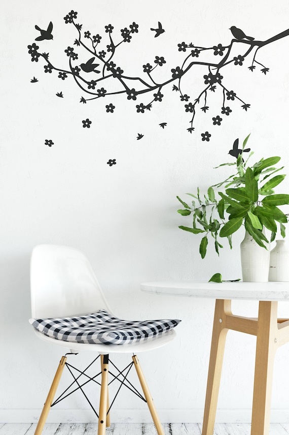Apple Blossom Branch Vinyl Wall Decal for Home Improvement, Nature Flowers Tree, Decals for Home Warming, Interior Design, Wall Decor