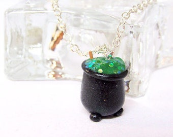 Spooky Green Cauldron Necklace - Witch Potion - Halloween costume -Witches and Wizards - Potions Class - Green and Black Necklace - Handmade