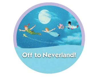 Off to Neverland! Button - Peter Pan Pin - Tinkerbell Button - Peter Pan Party Favors - Wendy Michael John Button  - Disney Park Button
