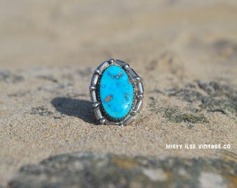 Silver Turquoise Ring 007 - Sterling silver jewelry - Gypsy style - Turquoise ring - American Indian vintage turquoise ring - turqoise ring