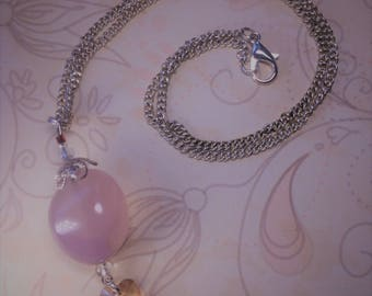 Rose quartz silver plated pendant with pale yellow Swarovski heart and  small red and clear glass beads