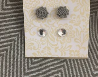 Gray/ rhinestone earring set