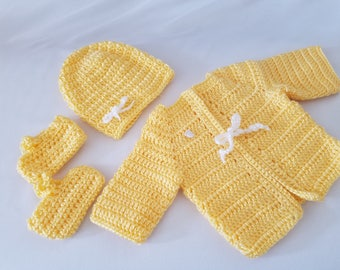 Crocheted 0-3 Months Sweater Set - 1 Color
