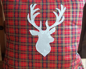 Red tartan stag cushion