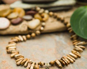 Collier de noblesse en Jaspe African Queen, pierres et pointes Sand Jasper, Jaspe du Désert