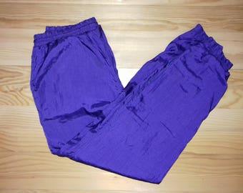 1990s Vintage Color Company Tracksuit Sweatpants Purple Nylon Material/ Hip Hop / Rap / Hippie / 90s / 80s / Adidas Kappa Puma Nike Hilfiger