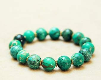 Small Chrysocolla and Imperial Turquoise Gemstone Bracelet