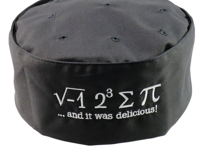 I Ate Some Pi And It Was Delicious Embroidery on an Adjustable Restaurant Style Black Pillbox Hat, A Pi Hat Like No Other!