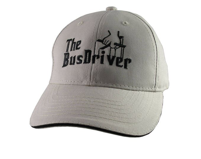 The Bus Driver Godfather Parody Style Black Embroidery Design on an Adjustable Structured Beige and Black Trimmed Baseball Cap