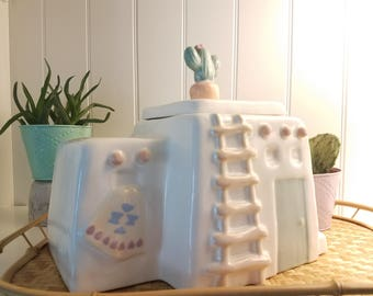 Cookie Jar// Southwest// Adobe// Cactus// Southwest// Canister// Gift// 90s