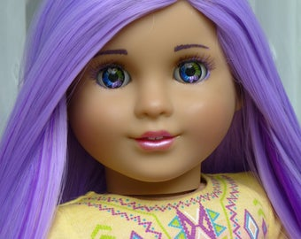 """OOAK Purple Princess American Girl Marie Grace 18"""" Doll Custom Hand Painted Eyes"""