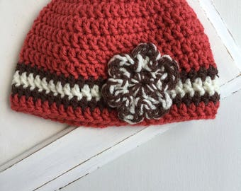 baby hat, baby girl hat, crochet coral hat with flower, 3-6m, SALE