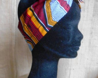 African turban, headband for women and girl, African fabric, red-yellow wax