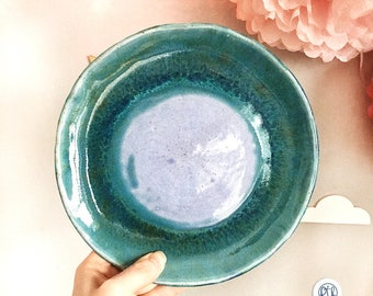 Turquoise dinner plates, Dinnerware. Dinner plate sea in a turquoise glaze handmade. Pottery