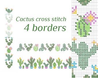 Modern embroidery Easy CACTUS embroidery pattern pdf Cactus cross stitch patterns pdf Floral pattern Pillow borders embroidery for wall art