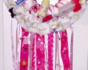 Pink diaper wreath for girls