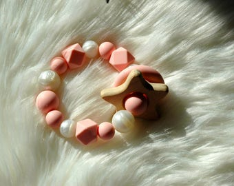 Star- Pink and Pearl Teether