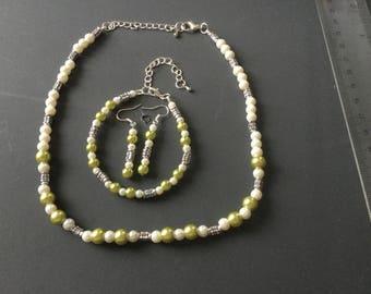 Glass pearl beads peridot and cream with Tibetan silver tube beads