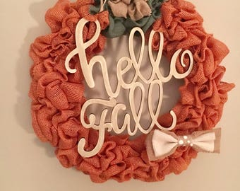 Burlap Hellow fall wreath