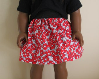Red Floral Skirt for 18 inch dolls; fits American Girl dolls