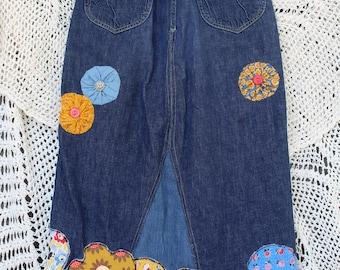 Ladies Flower Power Vintage Denim Skirt - Size S