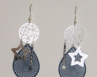 Earrings drops, stars, prints, miyuki beads, mini stars, blue, Navy, silver, gift earrings