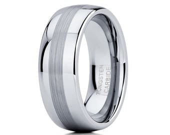 Men's Tungsten Wedding Band Grey Tungsten Ring Men & Women Tungsten Carbide Ring Brush Silver Tungsten Ring