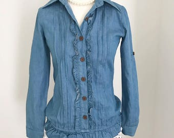 New Blue Denim Top, Frill Denim Top, Ruffle Top, Two style Top