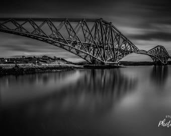 Forth Rail Bridge Reflection BW, South Queensferry, Scotland
