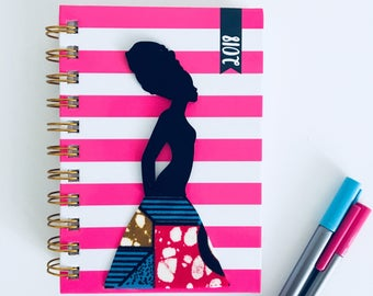 2018 Diary, 3D diary, planner, agenda, african fabric, ankara, african diary, A6 diary, spiral diary, gift for her, Valentine's day